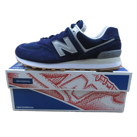 NEW BALANCE 574 Classic Retro Mens Running Shoes Navy Blue Size 9.5